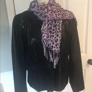 Neiman Marcus Black Embossed Leather Jacket